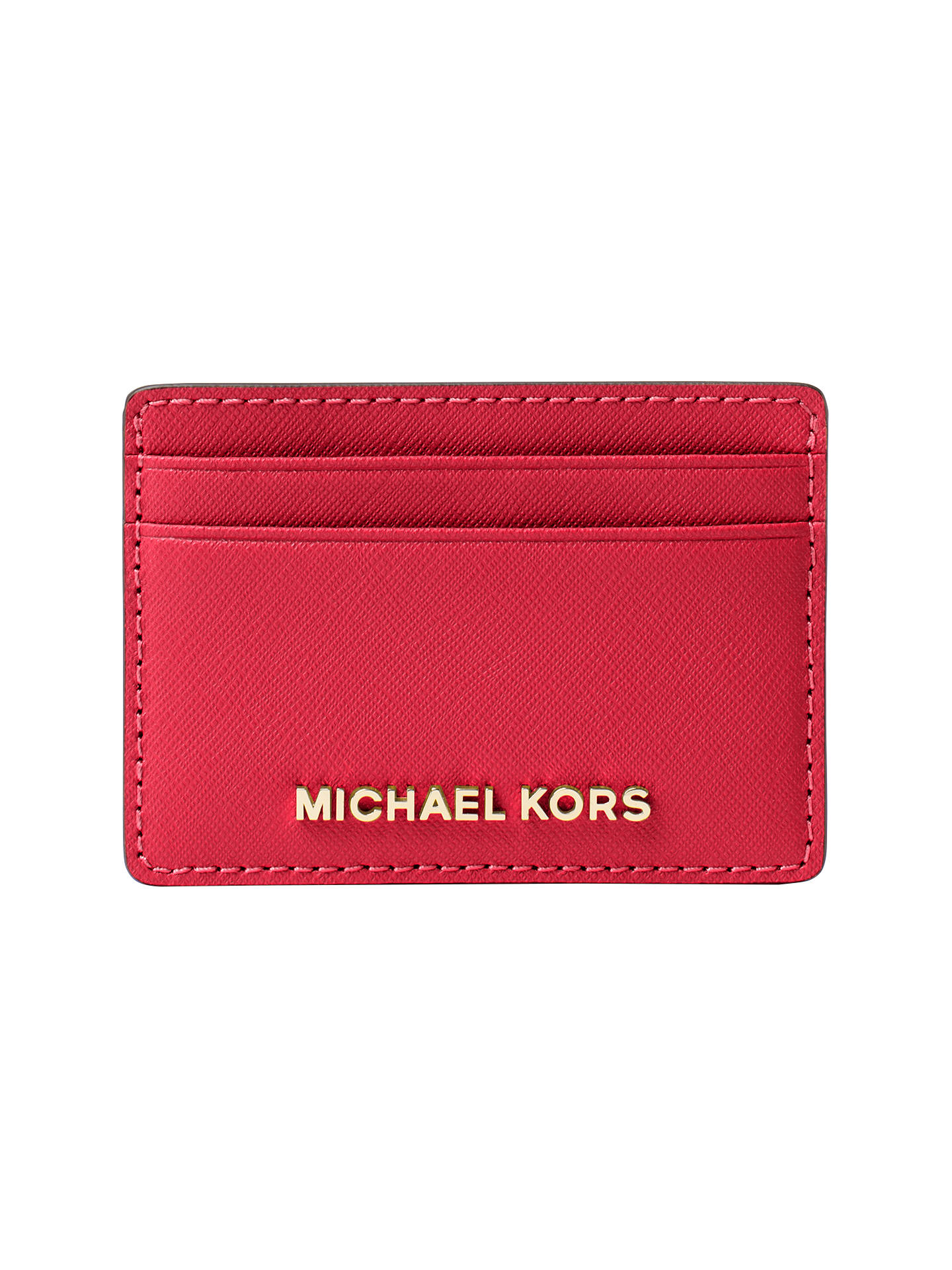 3db8987e5950 Buy MICHAEL Michael Kors Jet Set Travel Leather Card Holder, Bright Red  Online at johnlewis ...