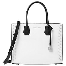Buy MICHAEL Michael Kors Mercer Studded Large Leather Tote Bag, Optic White Online at johnlewis.com