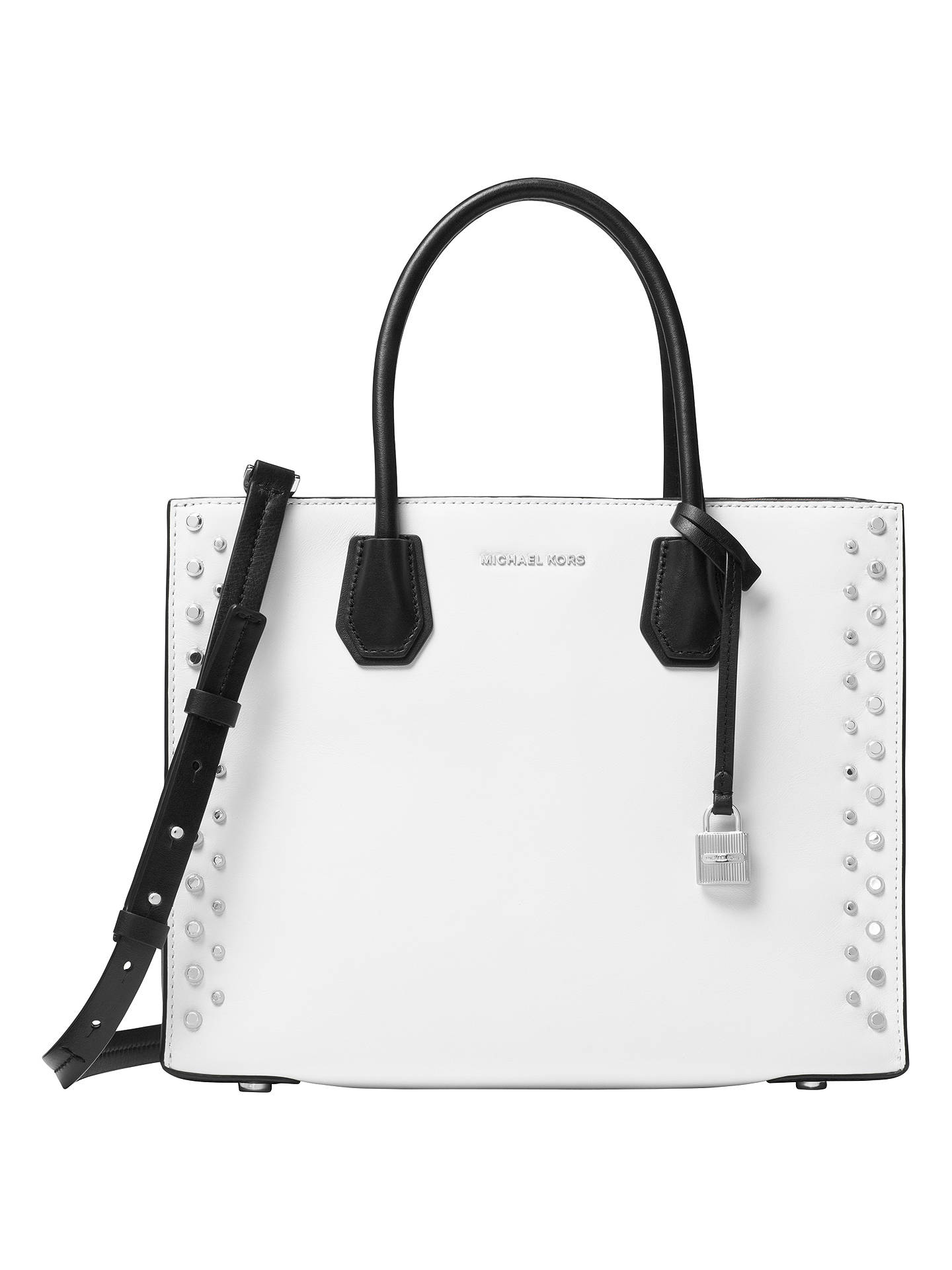 6bad2a97581ada Buy MICHAEL Michael Kors Mercer Studded Large Leather Tote Bag, Optic White  Online at johnlewis ...
