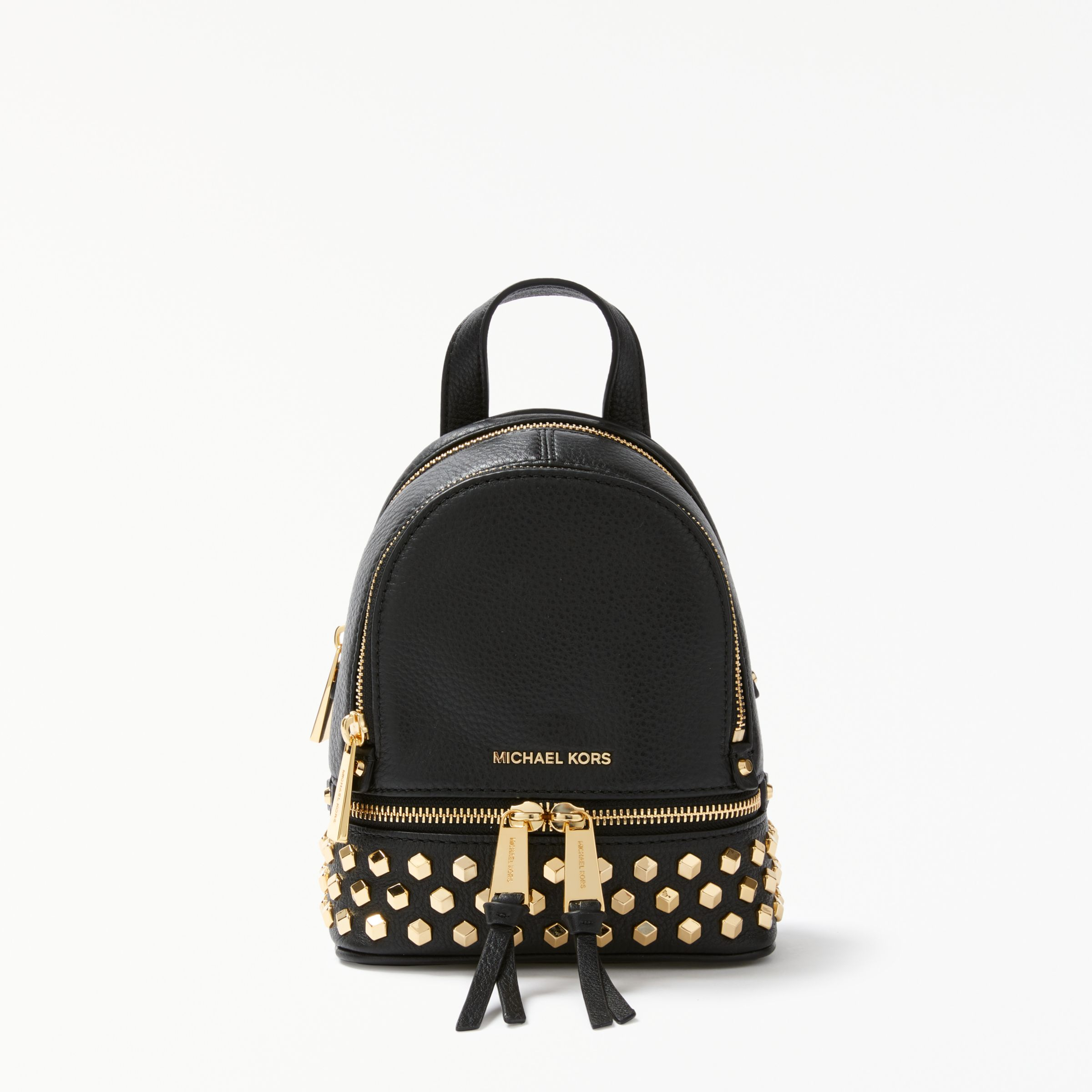 22cf6fac1d5fab MICHAEL Michael Kors Rhea Leather Studded Extra Small Backpack, Black at  John Lewis & Partners