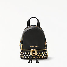 Buy MICHAEL Michael Kors Rhea Leather Studded Extra Small Backpack, Black Online at johnlewis.com