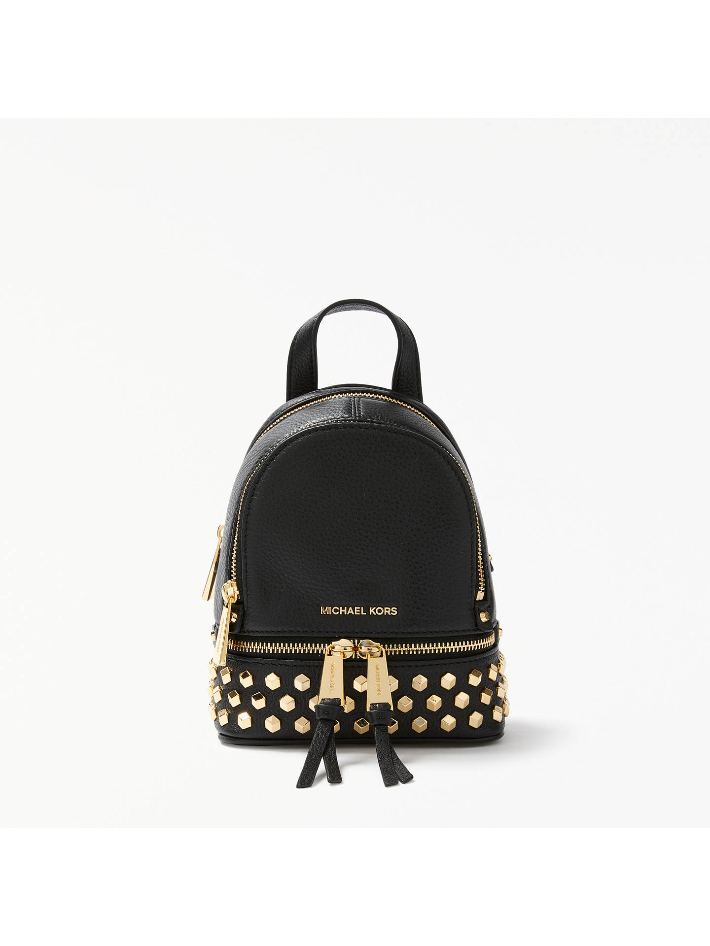 7409c4bcc54704 Buy MICHAEL Michael Kors Rhea Leather Studded Extra Small Backpack, Black  Online at johnlewis.