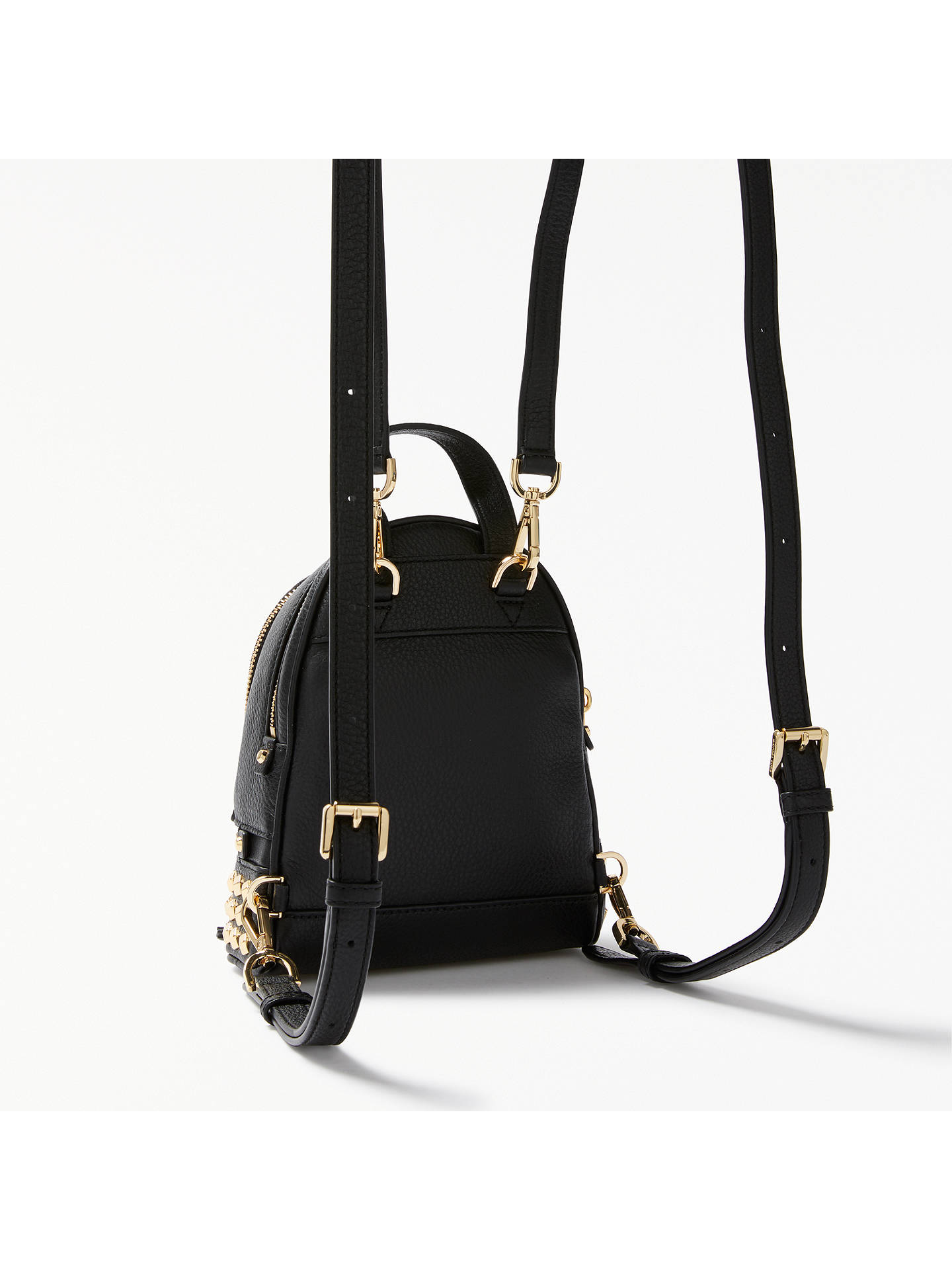 694947f4a6ae Buy MICHAEL Michael Kors Rhea Leather Studded Extra Small Backpack, Black  Online at johnlewis.