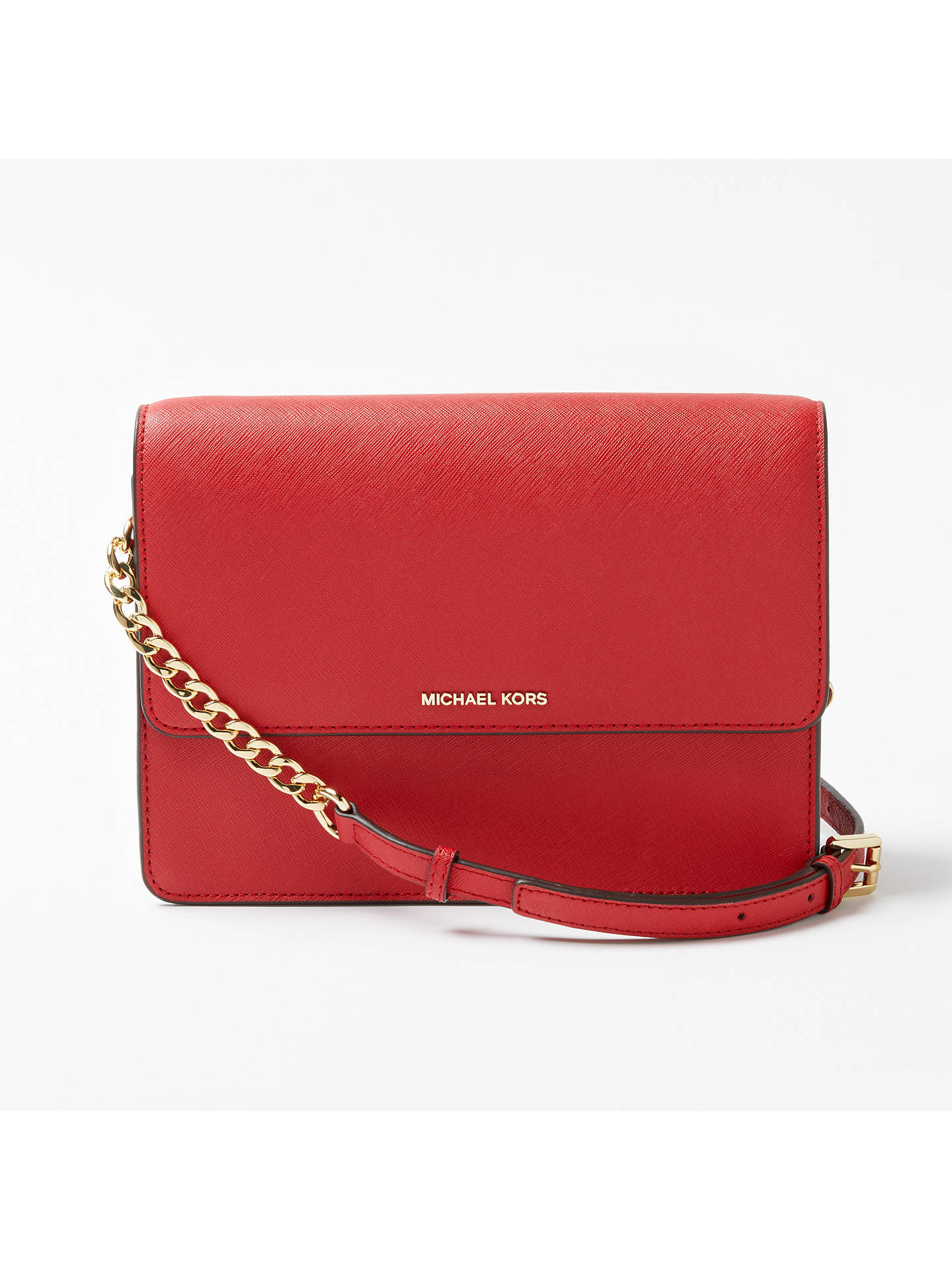 fcd7f3e449e419 Buy MICHAEL Michael Kors Daniela Large Leather Cross Body Purse, Bright Red  Online at johnlewis ...