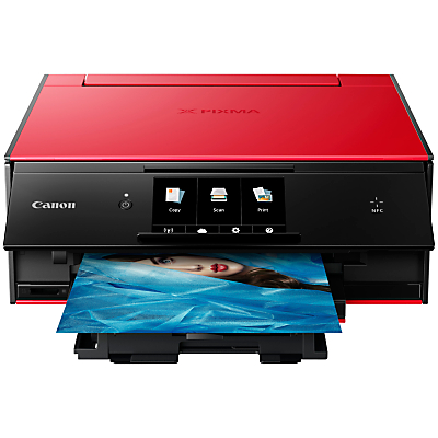 Canon PIXMA TS9055 All-in-One Wireless Wi-Fi Printer with Auto-Tilting Touch Screen, Red/Black