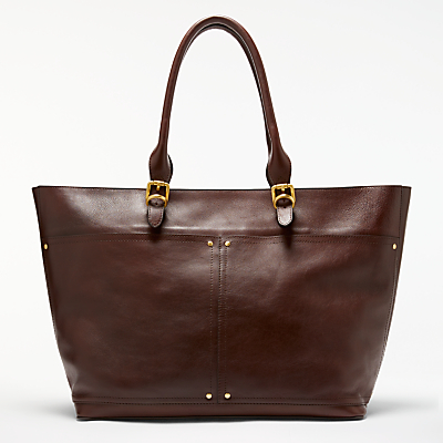 John Lewis Aurora Large Leather Tote Bag, Chestnut