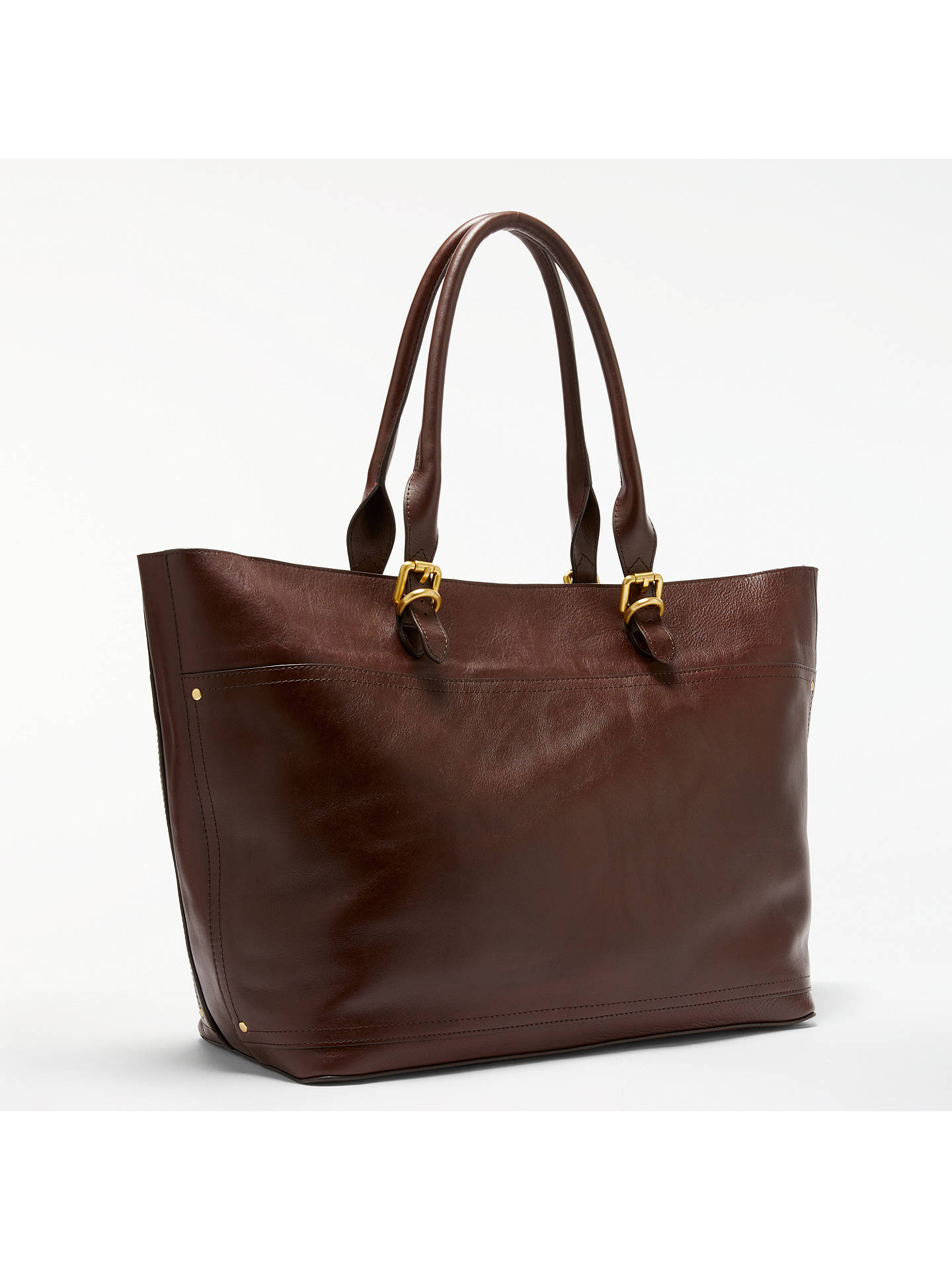 John Lewis Partners Aurora Large Leather Tote Bag Chestnut Online At Johnlewis