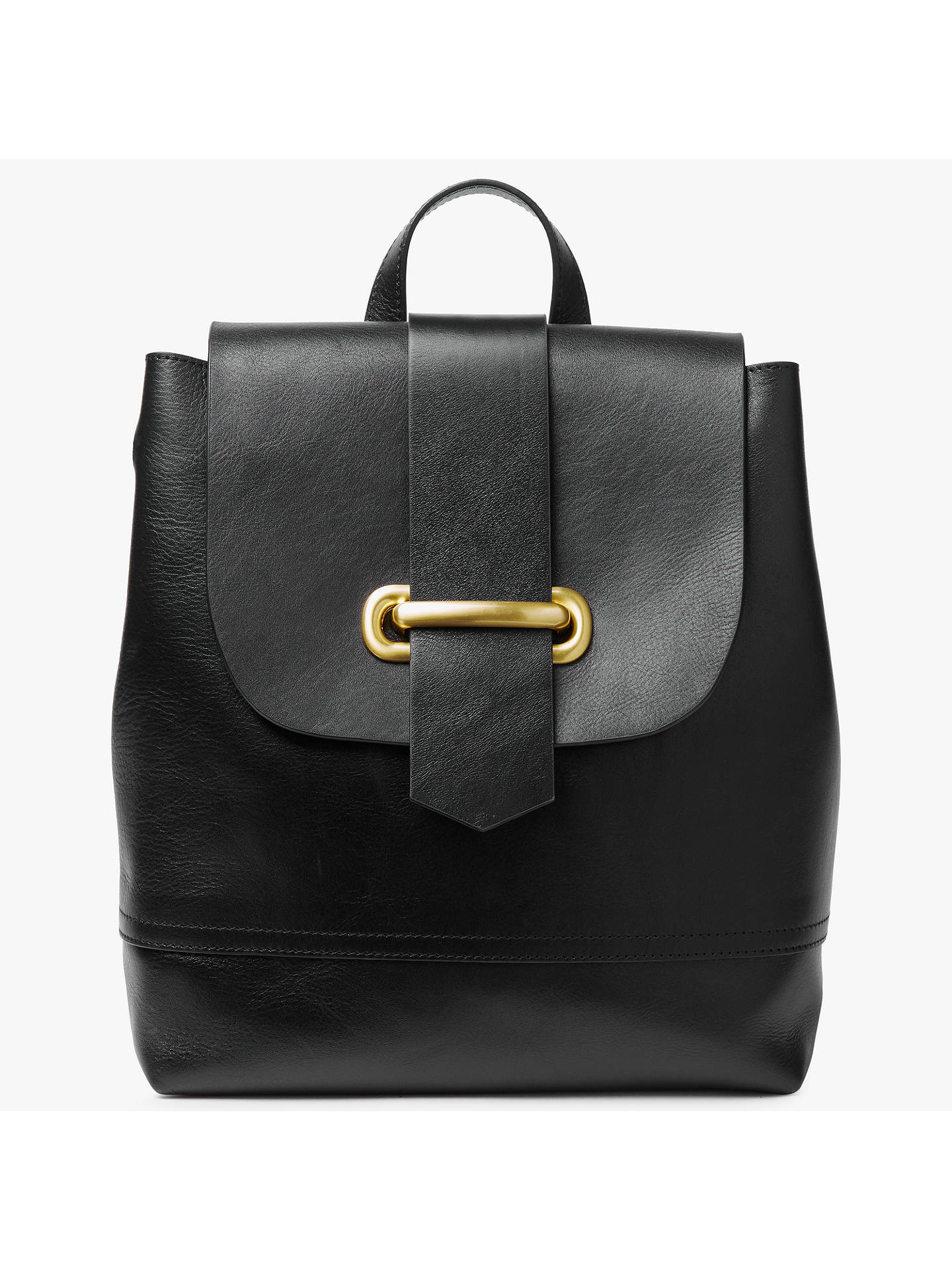 John Lewis Partners Aurora Leather Backpack Black Online At Johnlewis