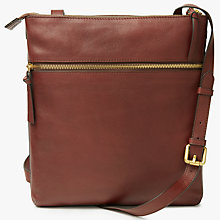 Buy John Lewis Aurora Leather Large Across Body Bag, Tan Online at johnlewis.com