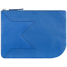 Buy Jaeger Leather Lusted Clutch Bag, Bright Blue Online at johnlewis.com