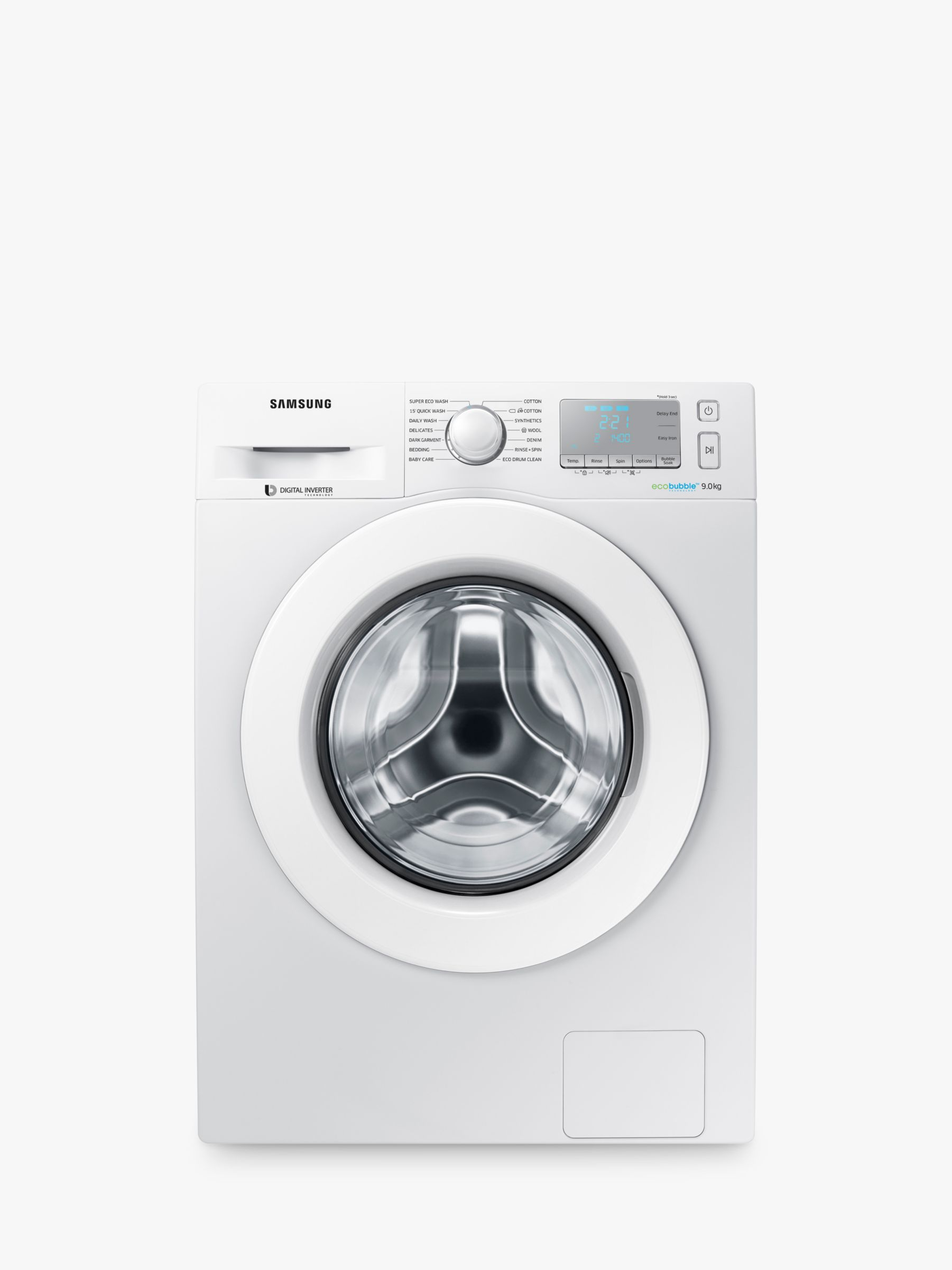 Samsung Samsung WW90J5456MA ecobubble™ Freestanding Washing Machine, 9kg Load, A+++ Energy Rating, 1400rpm Spin, White