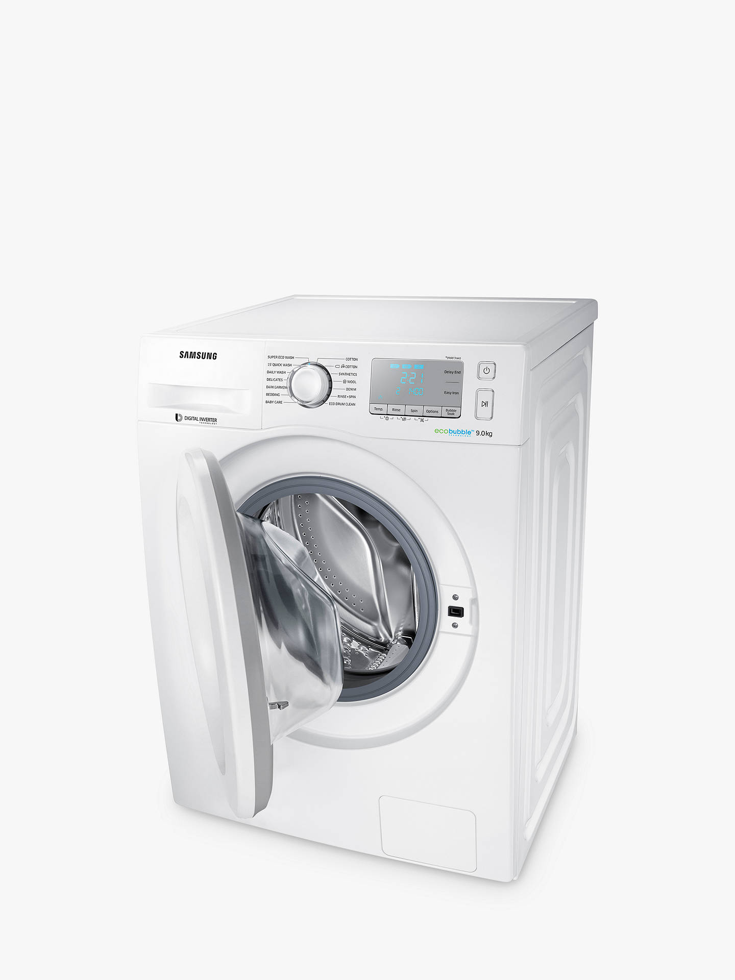 BuySamsung WW90J5456MA ecobubble™  Freestanding Washing Machine, 9kg Load, A+++ Energy Rating, 1400rpm Spin, White Online at johnlewis.com