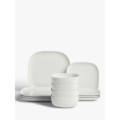 House by John Lewis Eat Square Dinnerware Set, White, 12 Piece