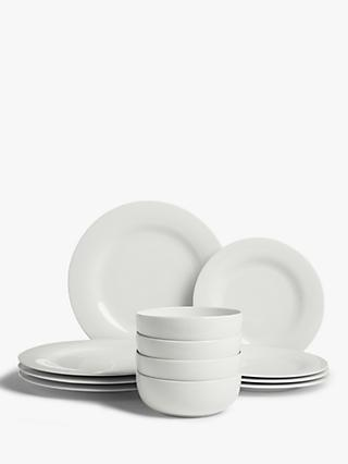 House by John Lewis Eat Round Rim Dinnerware Set, 12 Piece, White