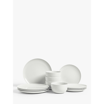 House by John Lewis Eat Coupe Tableware Set, 12 Piece, White