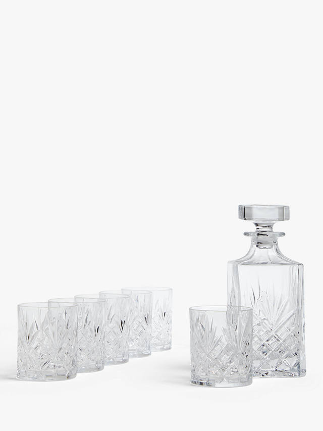 Buy ANYDAY John Lewis & Partners Paloma Sirius Cut Crystal Glass Whisky Decanter and Tumblers Set, 7 Pieces Online at johnlewis.com