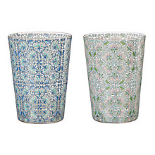 Buy Liberty Fabrics & John Lewis Lodden Flower Print Glass Tumblers, Multi, 460ml, Set of 2 Online at johnlewis.com