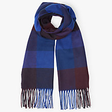 Buy John Lewis Cashmink Herringbone Large Square Scarf, Navy Online at johnlewis.com