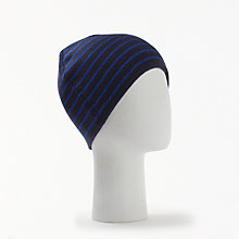 Buy John Lewis Double Face Stripe Beanie Hat, One Size, Blue Online at johnlewis.com