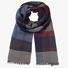 Buy John Lewis Weight Check Wool Scarf, Burgundy/Blue Online at johnlewis.com