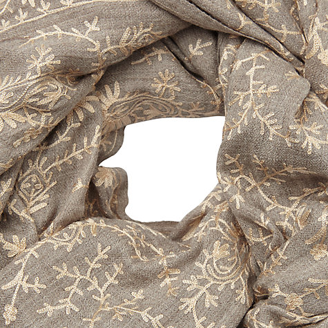 Buy John Lewis Floral Pattern Embroidery Wool Scarf, Taupe Online at johnlewis.com