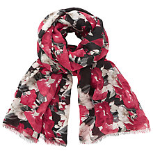 Buy John Lewis Winter Rose Print Scarf, Black/Multi Online at johnlewis.com