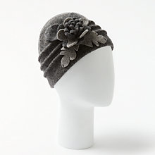 Buy John Lewis Wool Flower Applique Cloche Hat, Grey Online at johnlewis.com