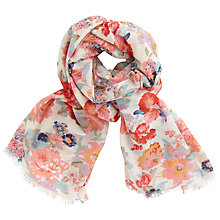 Buy John Lewis Rose Blossom Print Scarf, White/Multi Online at johnlewis.com