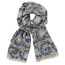 Buy John Lewis Floral Embroidery Wool Scarf, Grey/Blue Online at johnlewis.com