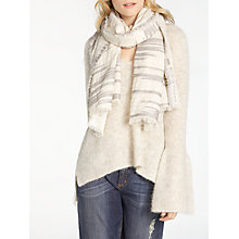 Buy AND/OR Slub Texture Broken Stripe Scarf, White/Light Grey Online at johnlewis.com