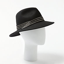Buy John Lewis Fedora Stud Trim Hat, Black Mix Online at johnlewis.com