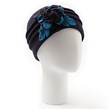 Buy John Lewis Wool Floral Beanie Hat, Navy/Teal Online at johnlewis.com