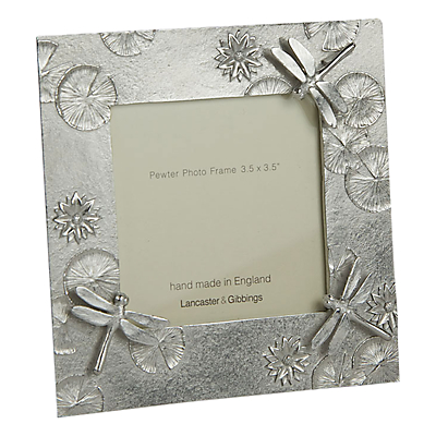 Product photo of Lancaster and gibbings pewter dragonfly photo frame silver 3 5 x 3 5 9 x 9cm