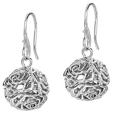 Buy Dower & Hall Wild Rose Sphere Drop Earrings, Silver Online at johnlewis.com