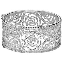 Buy Dower & Hall Wild Rose Filigree Hinged Bangle, Silver Online at johnlewis.com