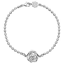 Buy Dower & Hall Wild Rose Flower Charm Chain Bracelet, Silver Online at johnlewis.com