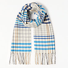 Buy John Lewis Cashmink Classic Check Scarf, Bright Blue Online at johnlewis.com