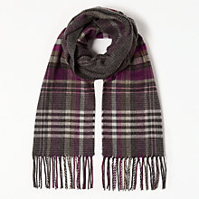 Buy John Lewis Cashmink Classic Check Scarf, Purple Online at johnlewis.com