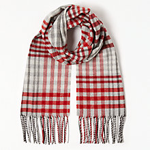 Buy John Lewis Cashmink Classic Check Scarf, Red Mix Online at johnlewis.com