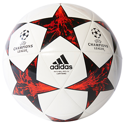 Adidas UCL Finale 17 Capitano Football, Size 5, White/Red