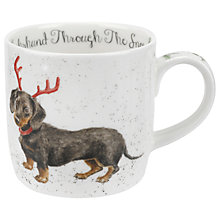 Buy Royal Worcester Wrendale Sausage Dog Christmas Mug, 310ml Online at johnlewis.com