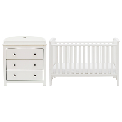 Silver Cross Ashby Style Dresser and Cotbed Set, Soft Antique White