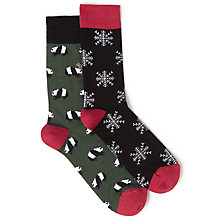 Buy John Lewis Snow Flake and Panda Socks, One Size, Pack of 2, Black/Green Online at johnlewis.com