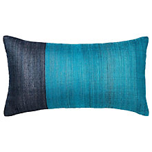 Buy west elm Sari Woven Silk Cushion, Blue/Teal Online at johnlewis.com
