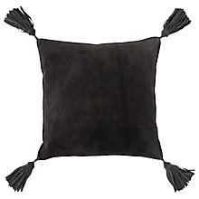 Buy west elm Suede Tassel Cushion, Slate Online at johnlewis.com
