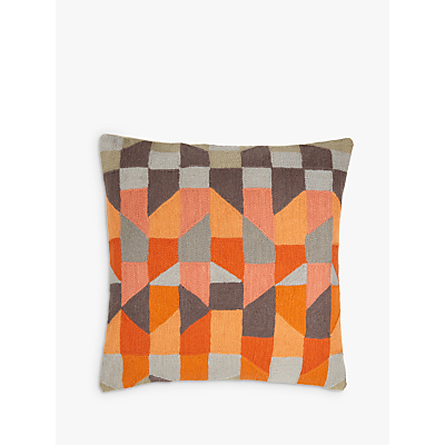 John Lewis Stack Cushion, Orange / Grey