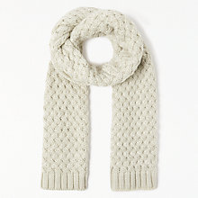 Buy John Lewis Criss Cross Weave Scarf, Cream Online at johnlewis.com