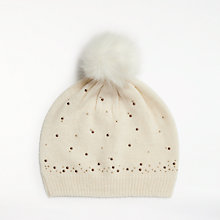 Buy John Lewis Studded Pom Pom Wool Blend Beanie Hat, Cream Online at johnlewis.com