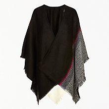 Buy John Lewis Cashmink Asymmetric Cape, Black/Multi Online at johnlewis.com