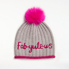 Buy John Lewis Fab-Yule-Us Pom Beanie, Grey/Pink Online at johnlewis.com